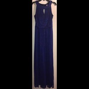 Blue buttons long sparkling dress